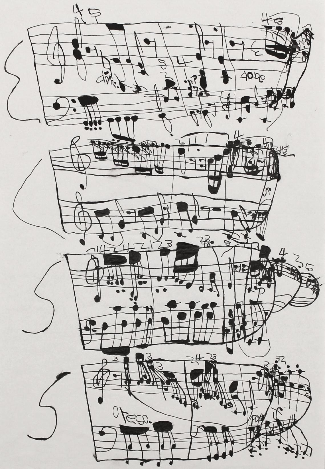 Koji Nishioka, Musical Score 9, 37 x 26 cm, Ink on paper
