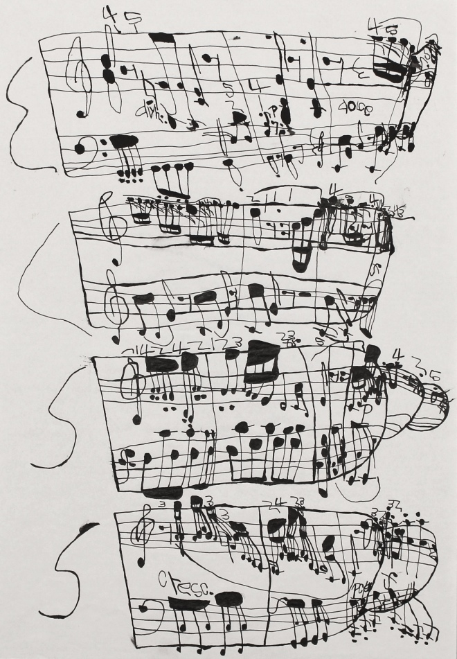Koji Nishioka, Musical Score 9, 37 x 26 cm, Ink on paper