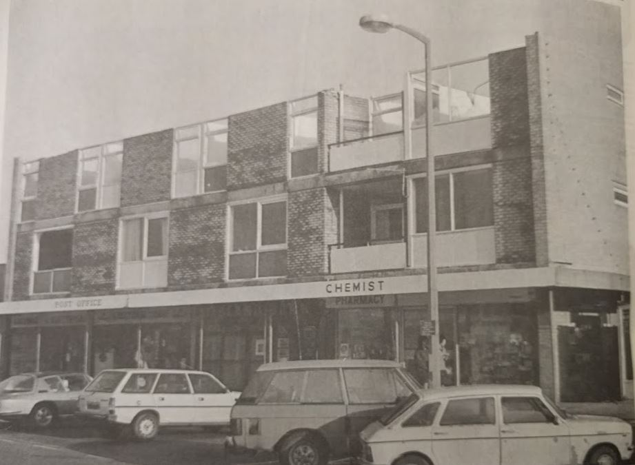 Shops and flats at Kingfisher Parade, East Wittering, lost their roofs