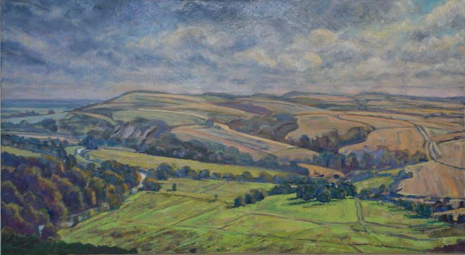 Arun Valley Towards Amberley Mount_Oil on Linen 100cmx180cm_Frances Knight