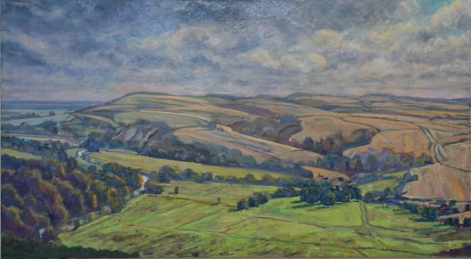 Arun Valley Towards Amberley Mount_Oil on Linen 100cmx180cm_Frances Knight