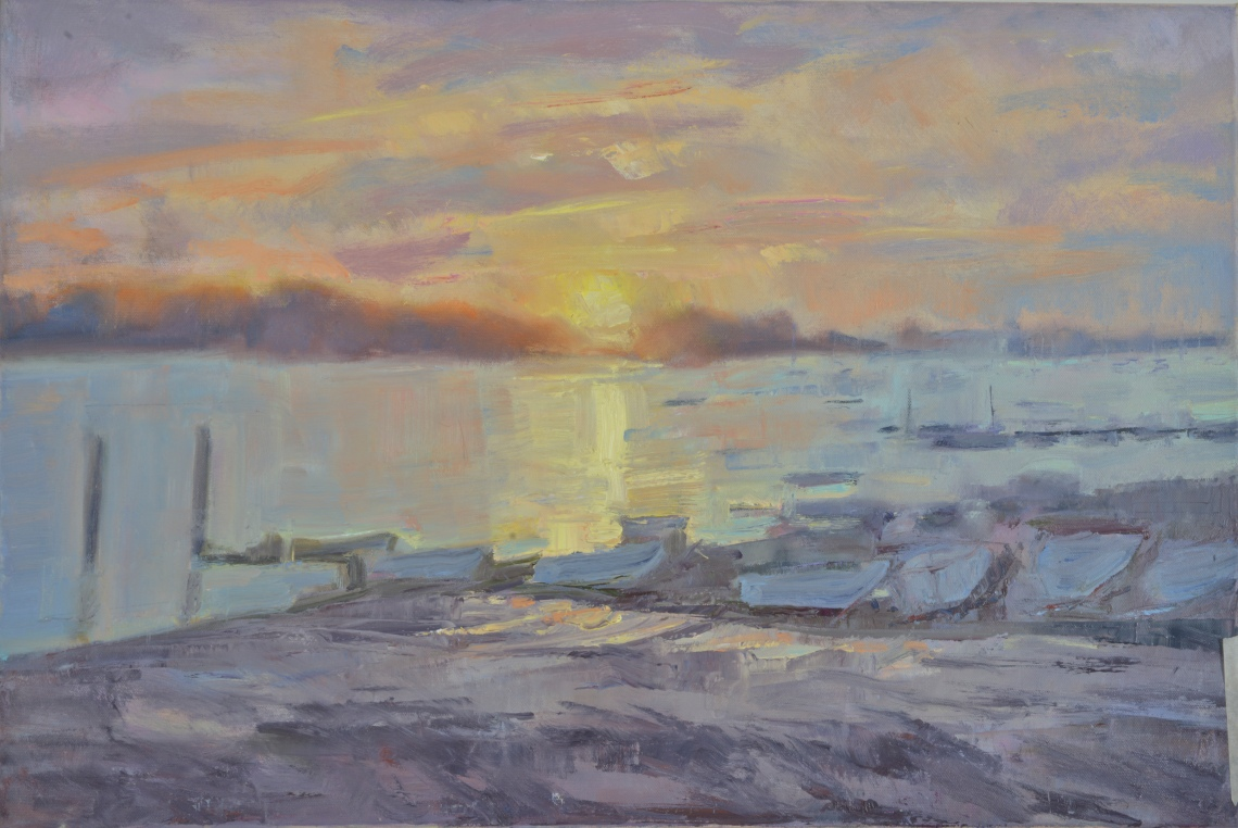 Sunrise Itchenor_Oil on Canvas 46cmx74cm_ Frances Knight