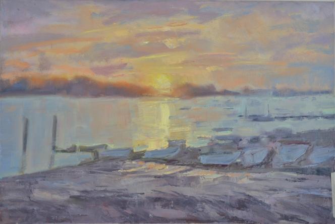 Sunrise Itchenor_Oil on Canvas 46cmx74cm_ Frances Knight
