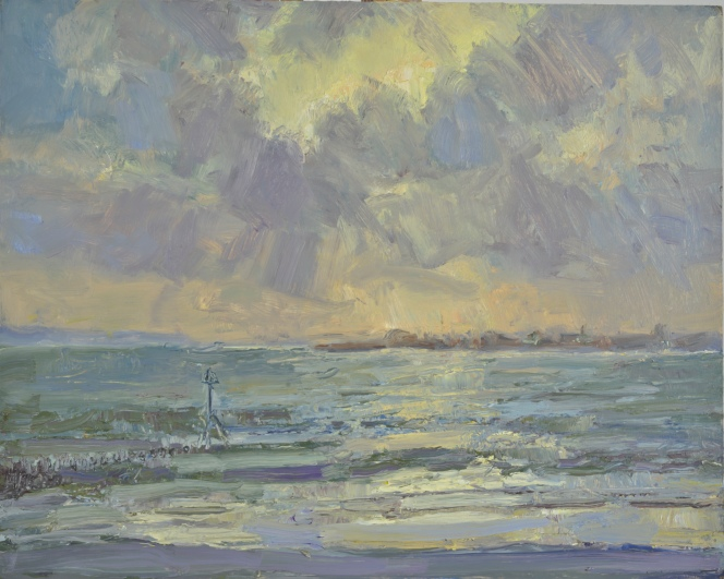 Windy Sunset Towards Hayling island_Oil on Panel_40cmx50cm_Frances Knight